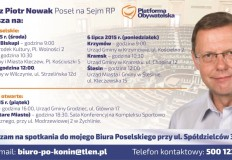 Poseł Tomasz Piotr Nowak zaprasza na dyżury poselskie i spotkania otwarte w gminach powiatu konińskiego