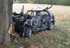 Zjechał, uderzył w drzewo, z samochodu zostały szczątki