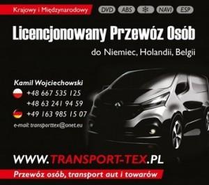 TRANSPORT-TEX Przewóz osób Niemcy, Holandia, Belgia. Codziennie!