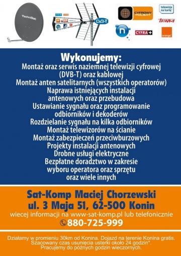 Sat-Komp Elektryk Konin, Usługi elektryczne, Domofony,Alarmy