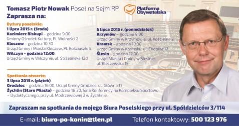 Poseł Tomasz Piotr Nowak zaprasza na dyżury poselskie i spotkania otwarte