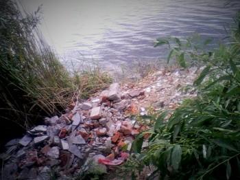 Gruz porzucony w krzakach nad jeziorkiem Zatorze