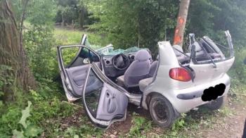 Stracił panowanie nad pojazdem i uderzył w drzewo. Byli ranni