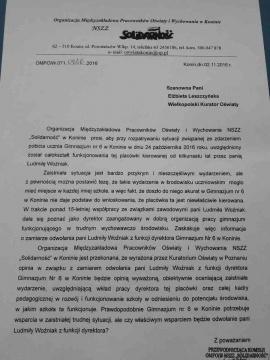 Społeczność Gimnazjum nr 6 murem za dyrektor Ludmiłą Woźniak