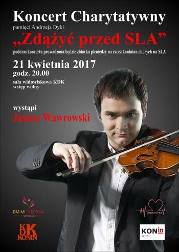 Skrzypek Janusz Wawrowski na koncercie charytatywnym w Koninie