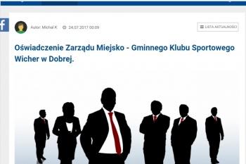 Wicher Dobra wydał oświadczenie dotyczące wycofania z IV ligi