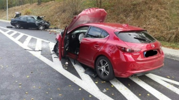 Wypadek w Grąblinie. Kierujący przetransportowani do szpitala