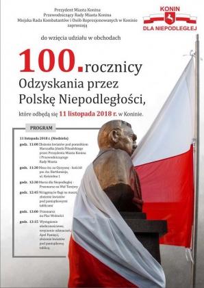 Konin. Uroczystości z okazji 100-lecia odzyskania niepodległości