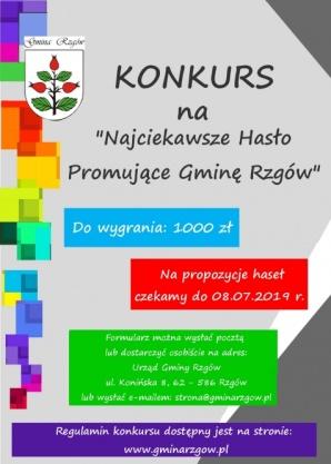 Rzgów. Mieszkańcy mogą wymyślić hasło promujące gminę