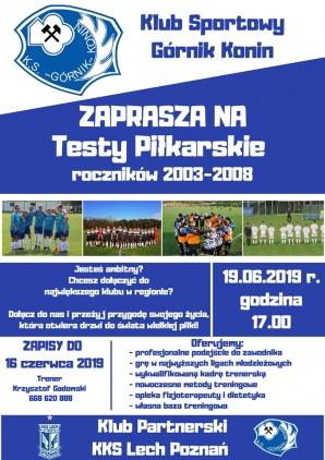 Górnik Konin zaprasza na testy piłkarzy w wieku od 11 do 16 lat