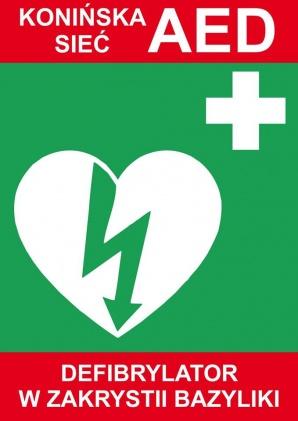 Defibrylator (AED) dostępny w sanktuarium maryjnym w Licheniu