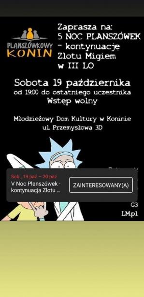V Noc Planszówek - kontynuacja Zlotu Migiem
