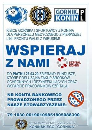 Kibice Górnika Konin zbierają pieniądze dla konińskiego szpitala