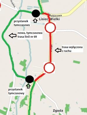 """Lisiec Wielki. Tymczasowa zmiana trasy i przystanków dla linii """"69"""""""