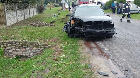 Słupca. Kierowca BMW uderzył w drzewo. Nic mu się nie stało