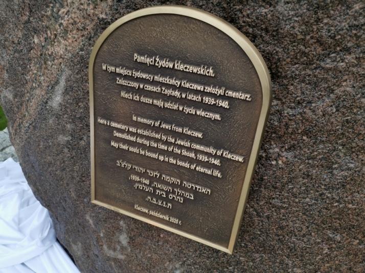 Kleczew. Miejsce dawnego cmentarza żydowskiego zostało upamiętnione