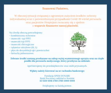 Licheń. Hospicjum apeluje o wsparcie w walce z koronawirusem