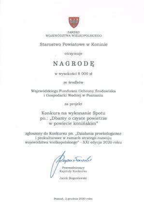 Starostwo Powiatowe wśród laureatów proekologicznego konkursu