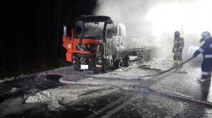 Kościelec. Na drodze krajowej nr 92 spłonął samochód ciężarowy