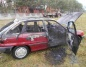 Pożar samochodu w Grodźcu. Auto niemal doszczętnie spłonęło