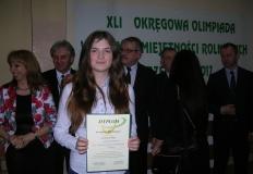 Laureatka olimpiady wiedzy i umiejętności rolniczych z Żychlina