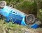 Wypadek w Rokoszu. Jedno z aut dachowało i wpadło do rowu