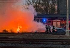 Pożar podkładów kolejowych ...