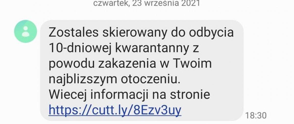 Ostrzeżenie przed fałszywymi SMS-ami od nadawcy Kwarantanna. Nie otwierajcie!