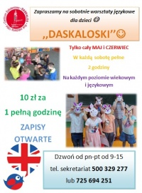 Zajęcia z angielskiego dla dzieci w soboty