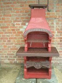 grill kominek do ogrodu z betonu, malowany ruszt z drutu
