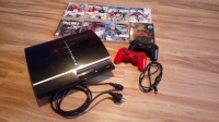Playstation 3 80GB + 2 pady + 8 gier