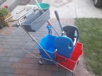 Wózek do sprzątania 2x17 l z uchwytem na worek i mopem płask