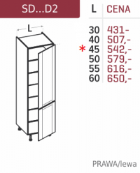 Słupek kuchenny szafka z półkami 45cm