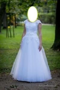 Suknia ślubna biała + welon i rękawki