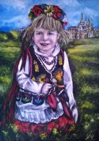 Dziewczynka w stroju Krakowskim - sprzedam obraz