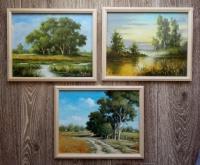 Pejzaż - Obrazy olejne - zestaw 3-szt
