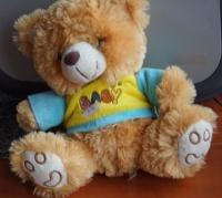 Pluszak Miś Baby w Żółto Niebieskiej Bluzeczce