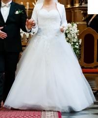 Suknia ślubna koronkowa, dekolt w serce PIĘKNA! r 38/40/42