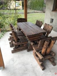 Sprzedam meble ogrodowe z drzewa stół plus 6 krzeseł