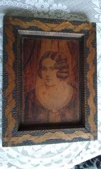 Stary przedwojenny 1934 r obraz. Portret kobiety.