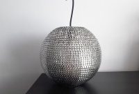 Nowa srebrna lampa sufitowa wisząca kula metalowa cekiny