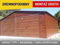 Garaż blaszany 7x7 drewnopodobny garaże blaszane bramy garaż