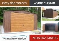 Garaż blaszany 4x6 drewnopodobny brama uchylna montaż gratis