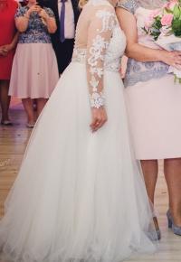 Suknia ślubna tiul ecru koronka długi rękaw