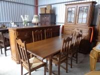 dębowy zestaw komoda witryna stół 6 krzeseł - Mielnica