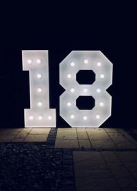 Napis Cyfry 18, led, wynajem, 135cm