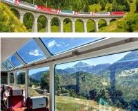 pociągiem panoramicznym przez Alpy