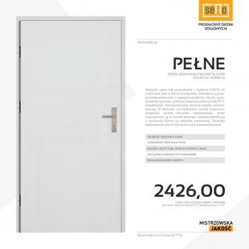 Drzwi zewnętrzne stalowe SETTO - model PEŁNE 92