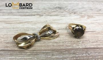 Złota broszka 333  pierścionek 585 LoMbard Centrum Konin