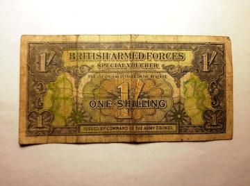 Stary banknot - Jeden Shilling, Brytyjskie Siły Zbrojne 1946